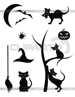 Silhouette-Icons für Halloween | Stock Vektorgrafik |ID 3365101