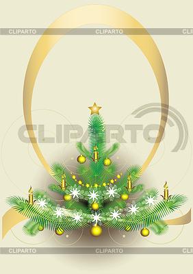 New year`s fluffy fir-tree. Postcard. | Stock Vector Graphics |ID 3305909