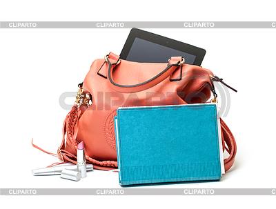 Różowe torebki damskie skórzane z Tablet PC | Foto stockowe wysokiej rozdzielczości |ID 3298737