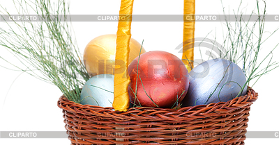 Colorful painted easter eggs in basket | High resolution stock photo |ID 3299325