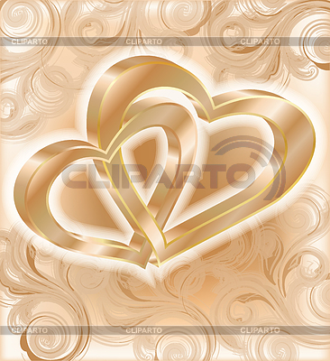 Two golden hearts, wedding card | Stock Vector Graphics |ID 3304524
