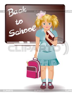 Schulmädchen in Uniform mit Schultasche | Stock Vektorgrafik |ID 3346352