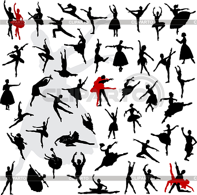 50 Silhouettes of ballerinas and dancers in movement | Stock Vector Graphics |ID 3319181