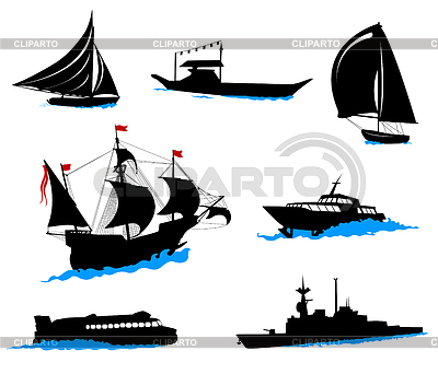Silhouettes of offshore ships - yacht, fishing boat   Stock Vector Graphics  ID 3319215