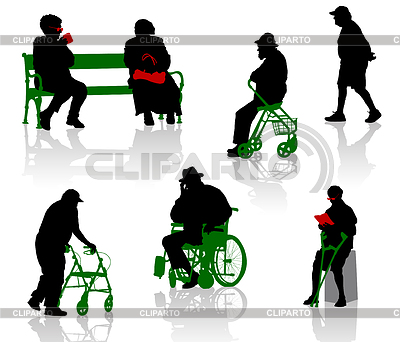 Silhouettes of old and disabled people | Stock Vector Graphics |ID 3319227