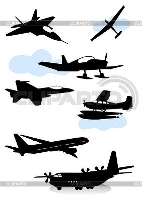 Sylwetki różnych samolotów | Klipart wektorowy |ID 3319230