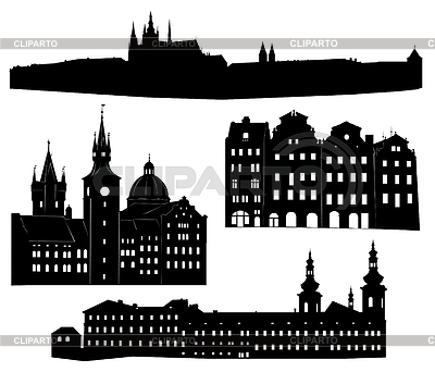 Sylwetki znanych budowli i zabytków Pragi | Klipart wektorowy |ID 3319236