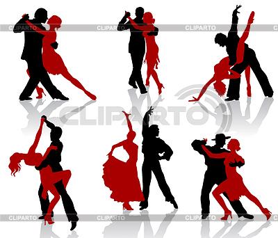 Sylwetki pary tańca towarzyskiego tańca. Tango   Klipart wektorowy  ID 3319249