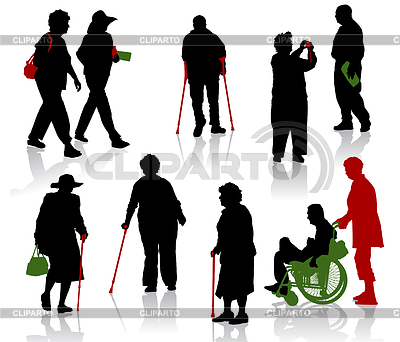 Silhouettes of old and disabled people   Stock Vector Graphics  ID 3319253