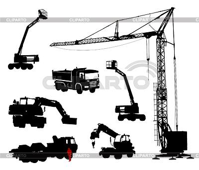 Detaillierte Silhouetten von Baumaschinen | Stock Vektorgrafik |ID 3319255