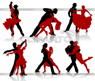 Silhouettes of the pairs dancing ballroom dances. Tango | Stock Vector Graphics |ID 3319264