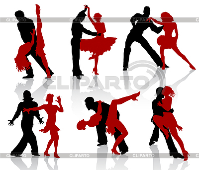 Silhouetten der Paare tanzen Standardtänzen. Tango | Stock Vektorgrafik |ID 3319266