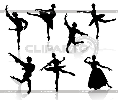 Silhouettes of ballerinas and dancer in movement on w   Stock Vector Graphics  ID 3319268
