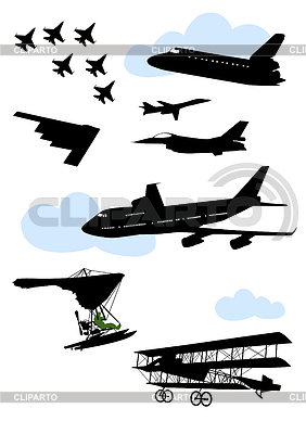 Collection of silhouettes of various planes | Stock Vector Graphics |ID 3319272