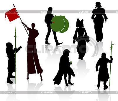 Sylwetki ludzi w średniowiecznych kostiumach | Klipart wektorowy |ID 3319289