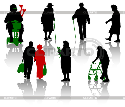 Silhouettes of old and disabled people   Stock Vector Graphics  ID 3320727