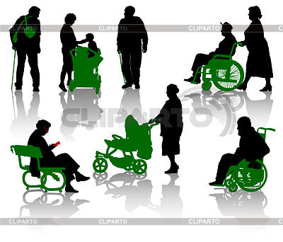 Silhouettes of old and disabled people. | Stock Vector Graphics |ID 3320729