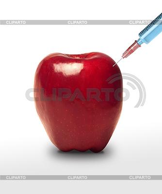 Jabłko GMO. Apple i strzykawki   Foto stockowe wysokiej rozdzielczości  ID 3314597