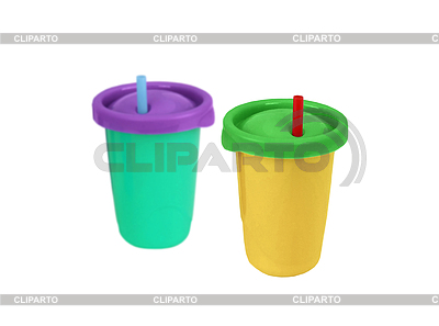 Two fast food paper cups with straws | High resolution stock photo |ID 3317518