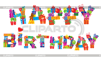Happy birthday, letters made of different gifts | Stock Vector Graphics |ID 3339656