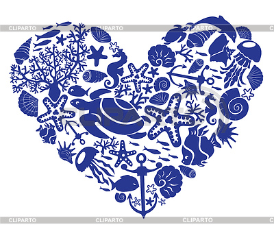 Heart of fishes, corals, shells, starfishes | Stock Vector Graphics |ID 3340605