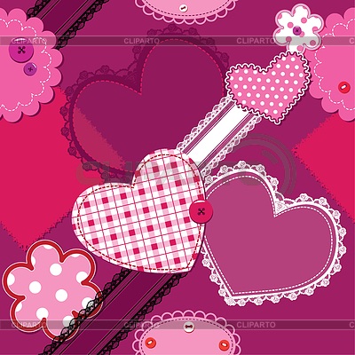 Scrap vintage seamless pattern of hearts and laces | Stock Vector Graphics |ID 3340623