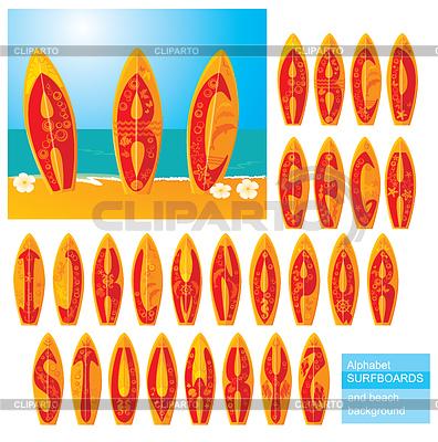 ABC - Alfabet - desek surfingowych z ręcznie rysowanych liter | Klipart wektorowy |ID 3340629