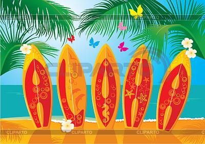 Aloha - festliche Sommerkarten - Surfbretter | Stock Vektorgrafik |ID 3340631