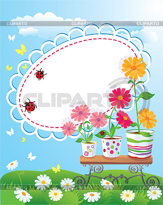 Summer frame with flowers in pots and ladybirds | Stock Vector Graphics |ID 3340655