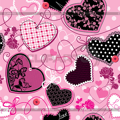 Pink and black Hearts on pink seamless background | Stock Vector Graphics |ID 3340673