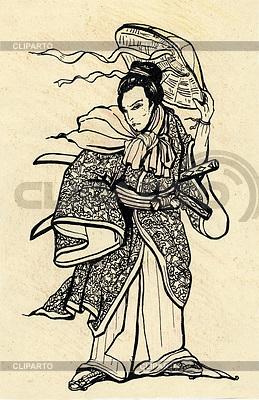 Ein Samurai mit Katana Schwert und Hut | Illustration mit hoher Auflösung |ID 3362962