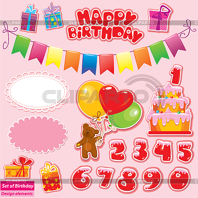 生日派对元素的设置 | 向量插图 |ID 3372423