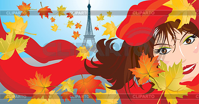Cute woman with red scarf, beret and maple leaves | Stock Vector Graphics |ID 3382409