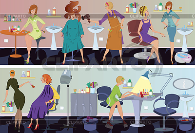 Beauty salon banner hair blow drying | High resolution stock illustration |ID 3345662