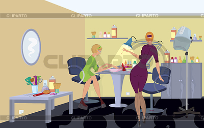 Beauty salon client in green dress is getting manicure | High resolution stock illustration |ID 3345667