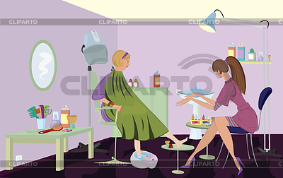 Beauty salon client is getting pedicure | High resolution stock illustration |ID 3345670