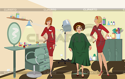 Beauty salon client two salon workers in red uniforms | High resolution stock illustration |ID 3345671