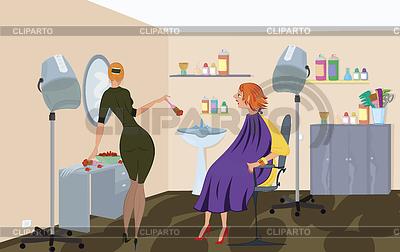 Beauty salon worker is applying hair dye | High resolution stock illustration |ID 3345673