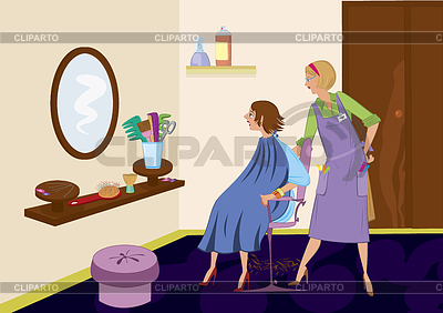 Beauty salon brunet looking in mirror after hair cut | High resolution stock illustration |ID 3345675