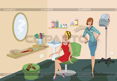 Beauty salon client in red dress is looking in mirror | High resolution stock illustration |ID 3345677