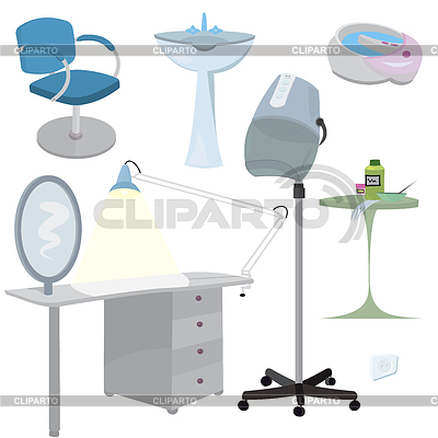 Beauty salon furniture icon set | High resolution stock illustration |ID 3345683