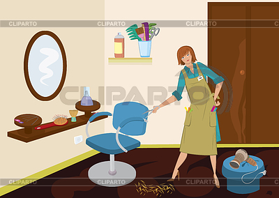Beauty salon hairdresser with scissors near chair | High resolution stock illustration |ID 3345684