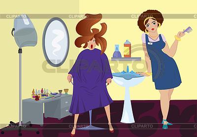美容サロンのプロとクライアントは、近いBLOスタンドアップ | 高解像度イラスト |ID 3345687