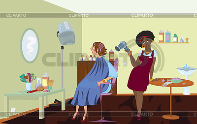 Beauty salon professional is blow drying clients hair | High resolution stock illustration |ID 3345688