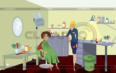 Салон красоты с профессиональным гребень и клиента в степень | Иллюстрация большого размера |ID 3345689