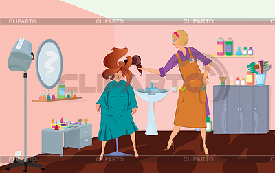 Beauty salon professional is blow drying client`s hair | High resolution stock illustration |ID 3345694