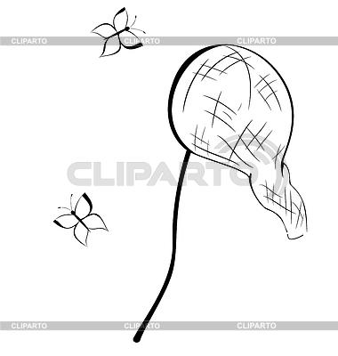 Schwarze und weiße Kontur Schmetterlingsnetz | Stock Vektorgrafik |ID 3352519