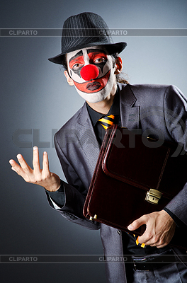Businessman with clown wig and face paint | High resolution stock photo |ID 3351549