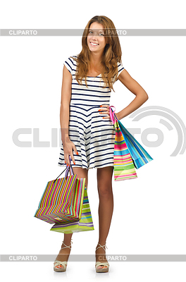Happy girl after great shopping | High resolution stock photo |ID 3373869