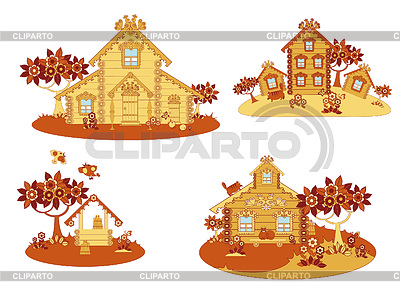 Wooden country houses | Stock Vector Graphics |ID 3352485